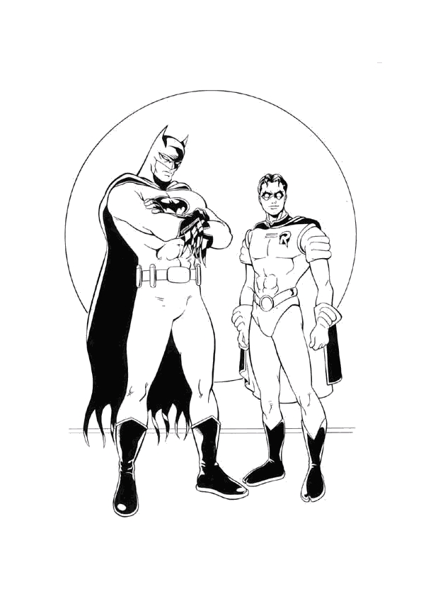 batman and robin coloring pages - super hero cartoon robin coloring pages