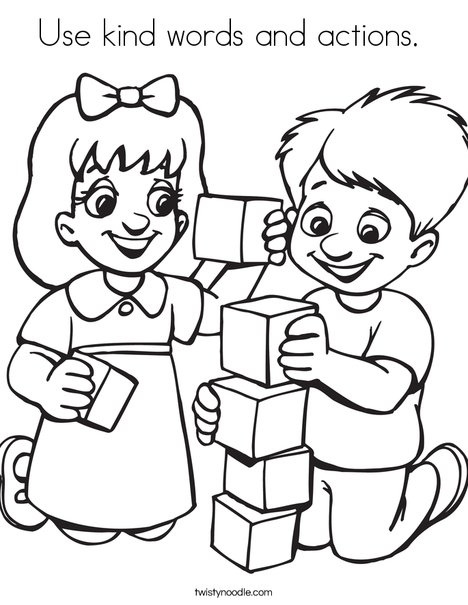 be kind coloring page - use kind words and actions coloring page