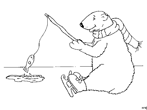 Bear Coloring Pages - Eisbaer Am Fischen Ausmalbild & Malvorlage Ics