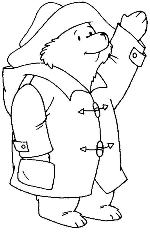 bear coloring pages - paddington bear greeting someone coloring page
