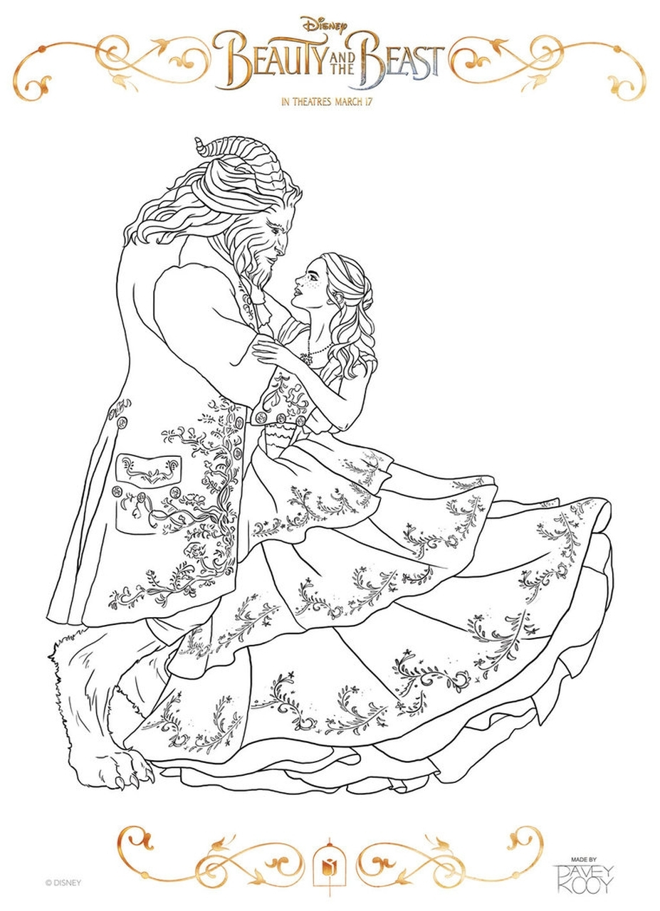 beast coloring page - belle christmas coloring page