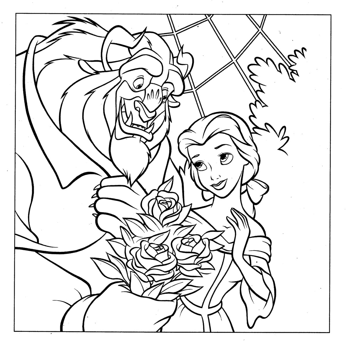 beauty and the beast coloring pages - disney beauty and the beast coloring