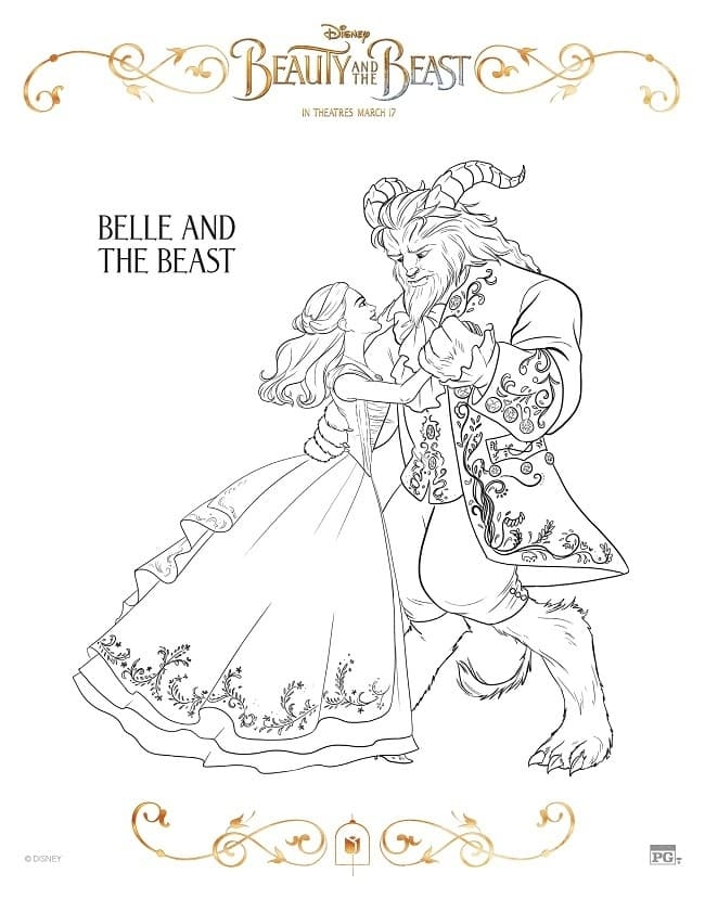beauty and the beast coloring pages - free printable beauty beast coloring pages