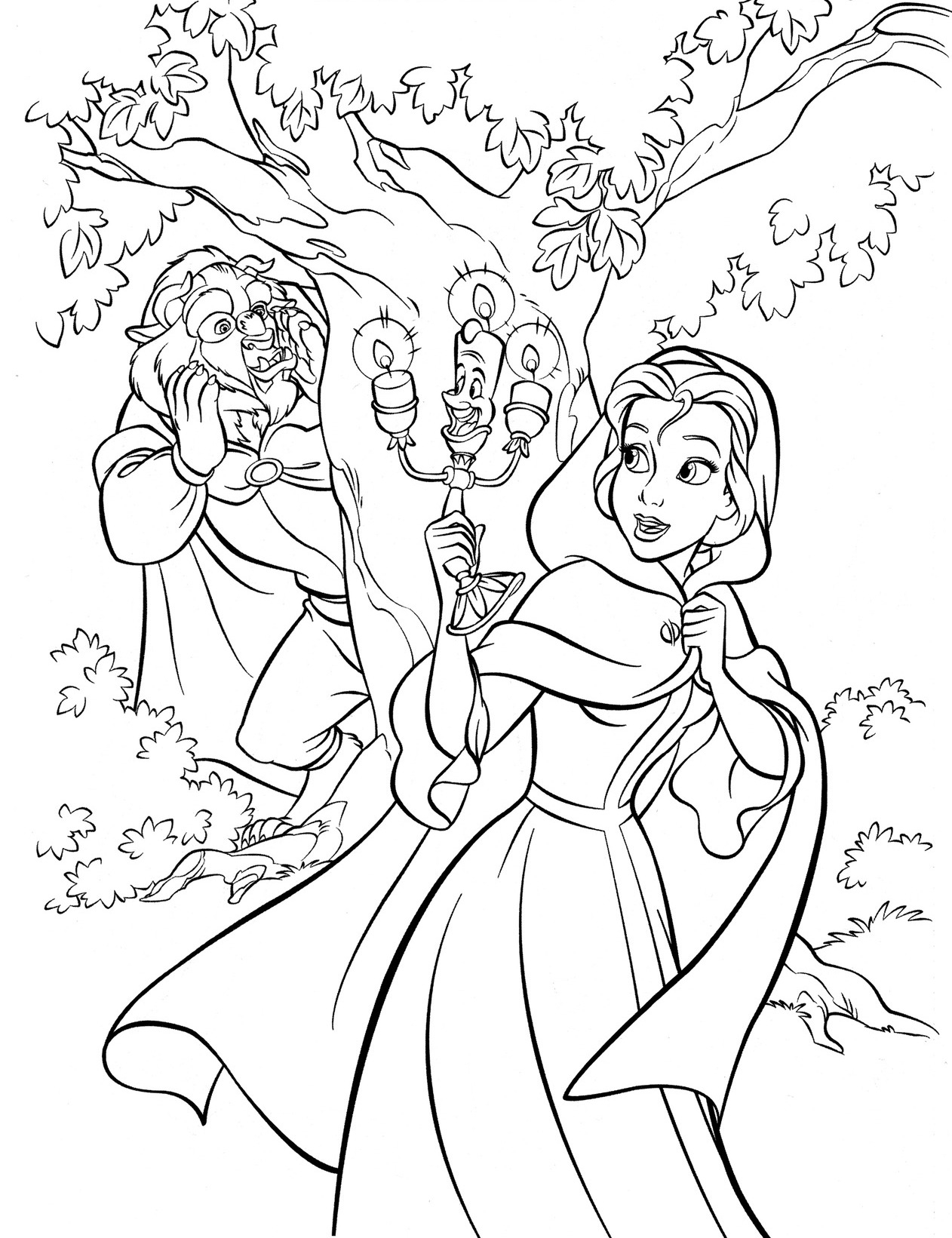 Beauty and the Beast Coloring Pages - Walt Disney Cute Kawaii Resources