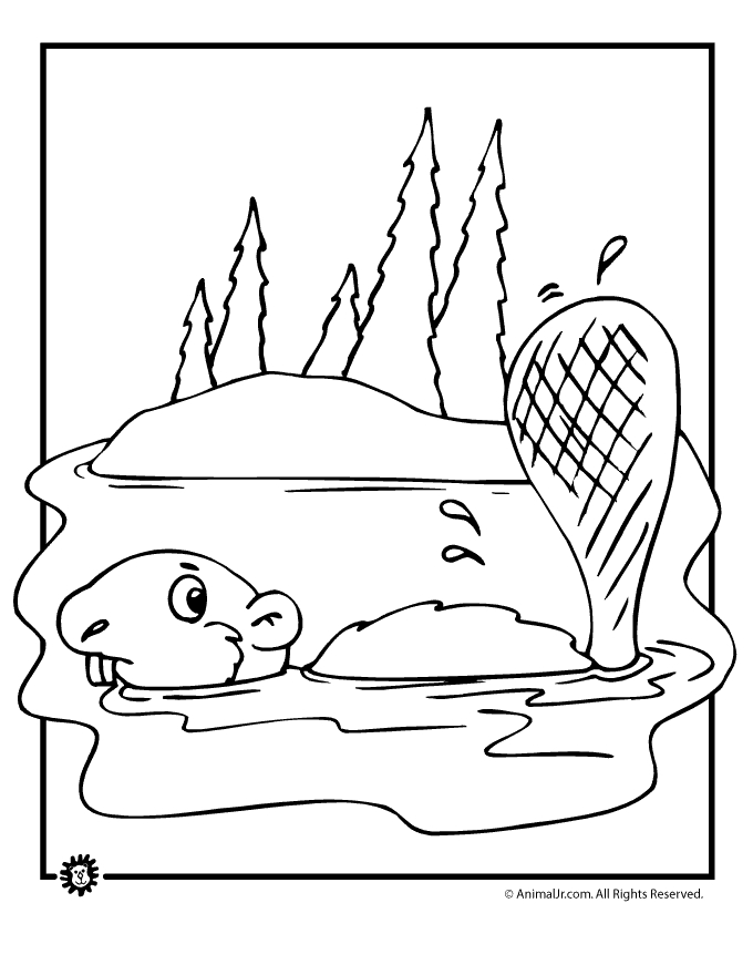 beaver coloring page - forest beaver coloring