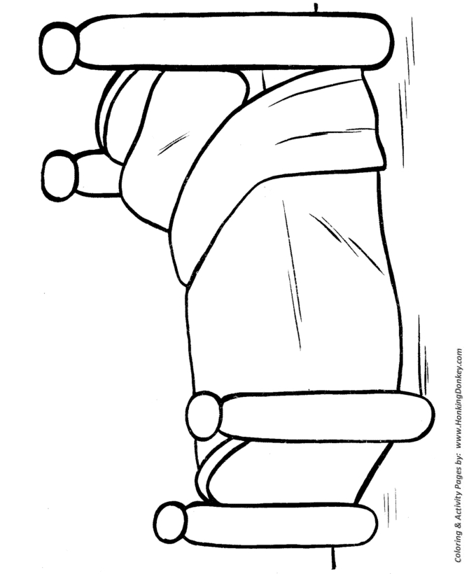 bed coloring page - 10 easy shapes 23