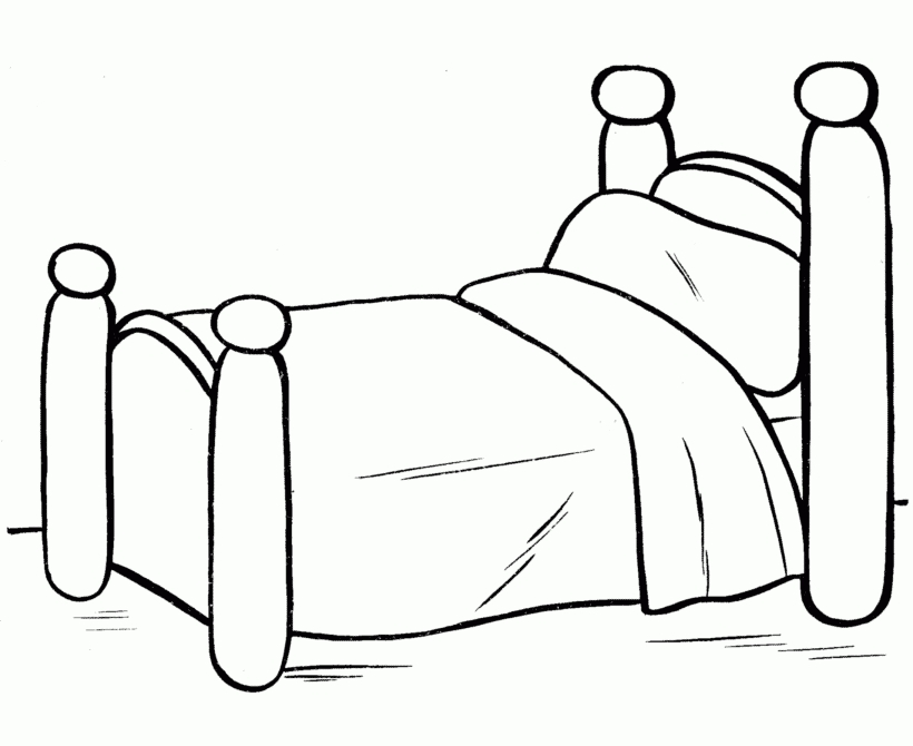 bed coloring page - simple coloring pages