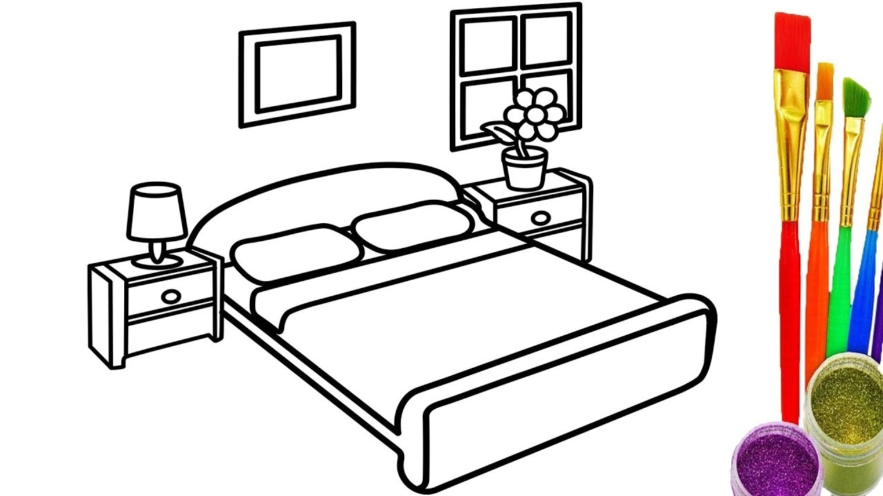 Bedroom Coloring Pages - Learn Colors for Kids with Draw Bedroom Coloring Pages How
