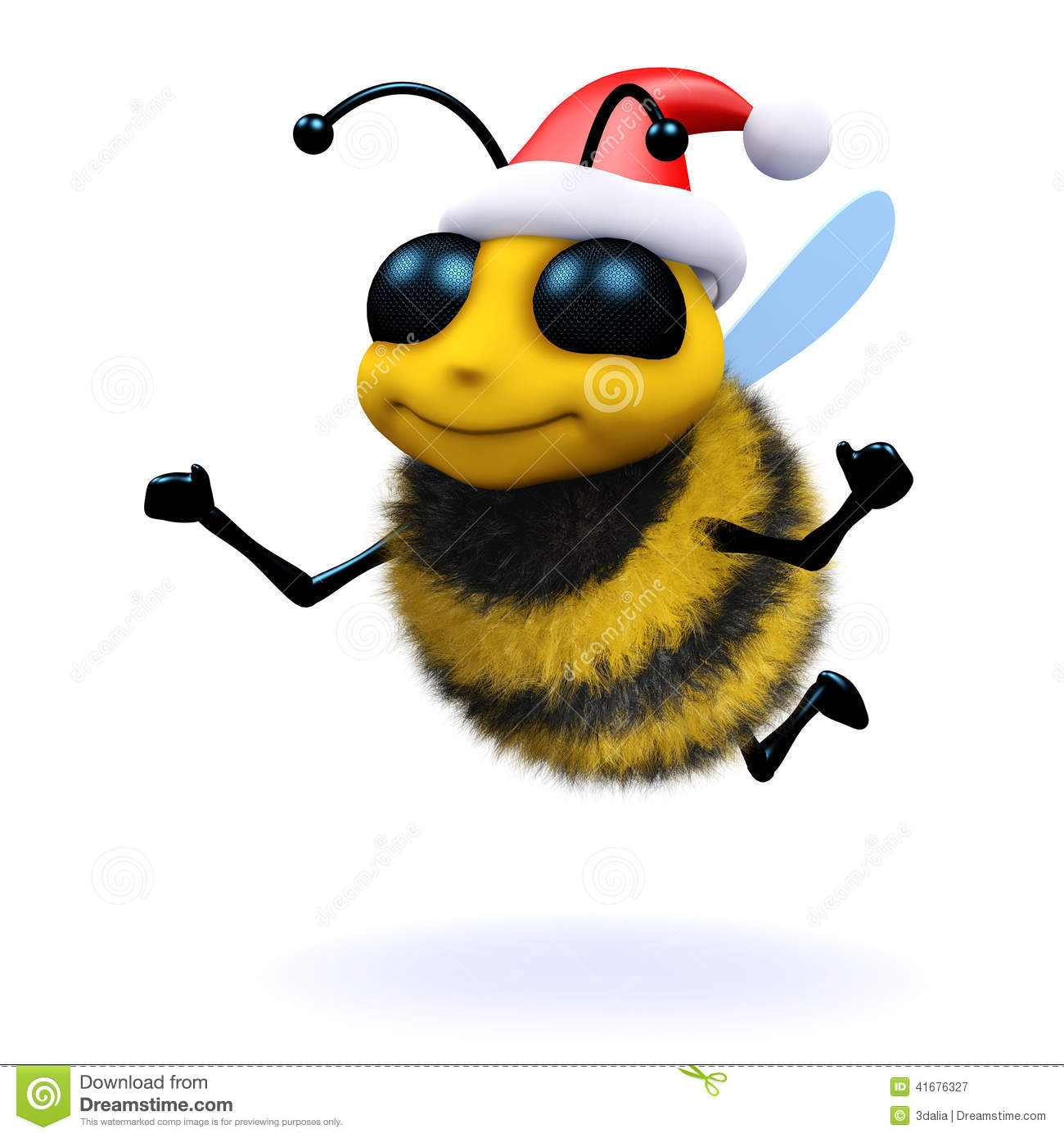 bee coloring pages - stock illustration d honey bee santa claus render dressed as image