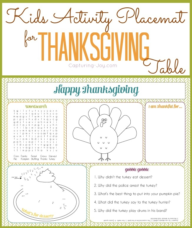being thankful coloring pages - kids activity placemat thanksgiving table