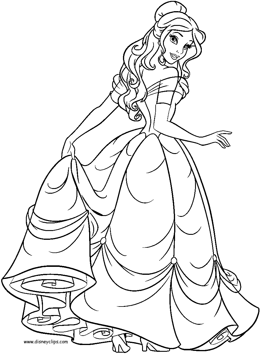 bell coloring pages - belle coloring pages