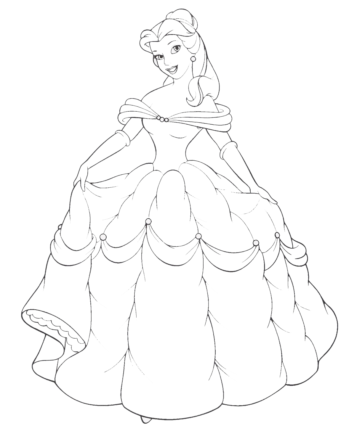 bell coloring pages - disney princess belle and her gown