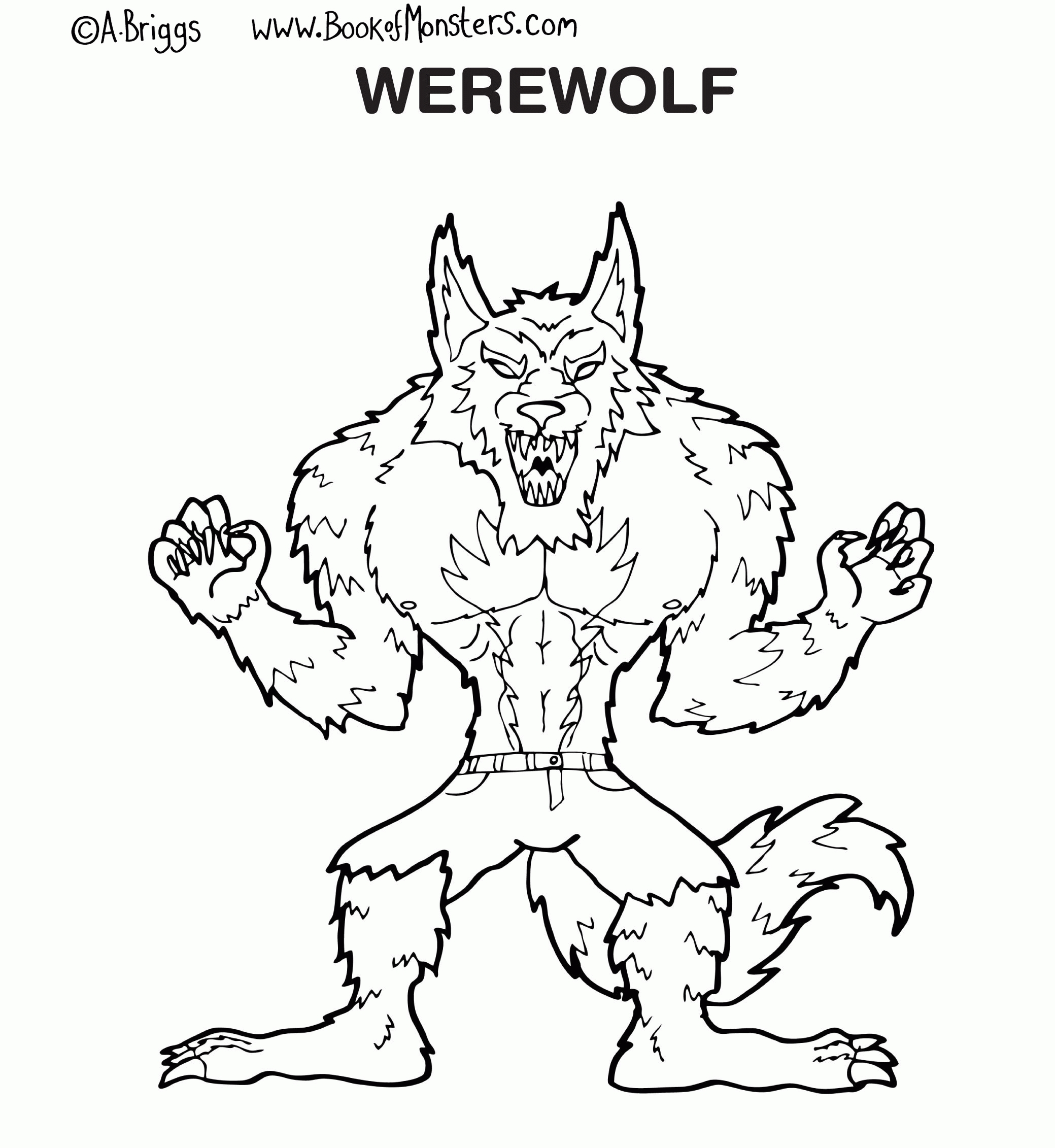 ben 10 coloring pages - werewolf coloring page