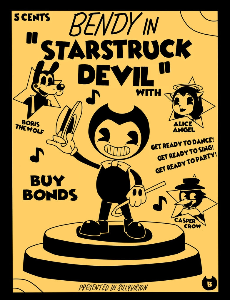 bendy coloring pages - Bendy in Starstruck Devil Contest Entry