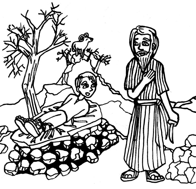 biblical coloring pages - abramo e isacco 2