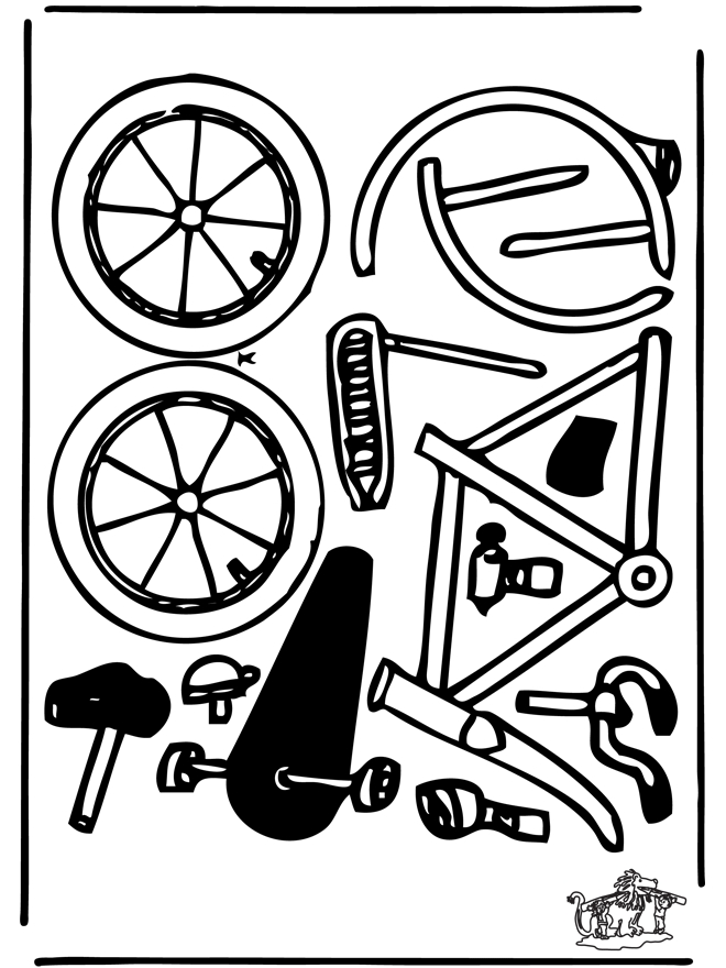 bike coloring pages - modellbogen fahrrad