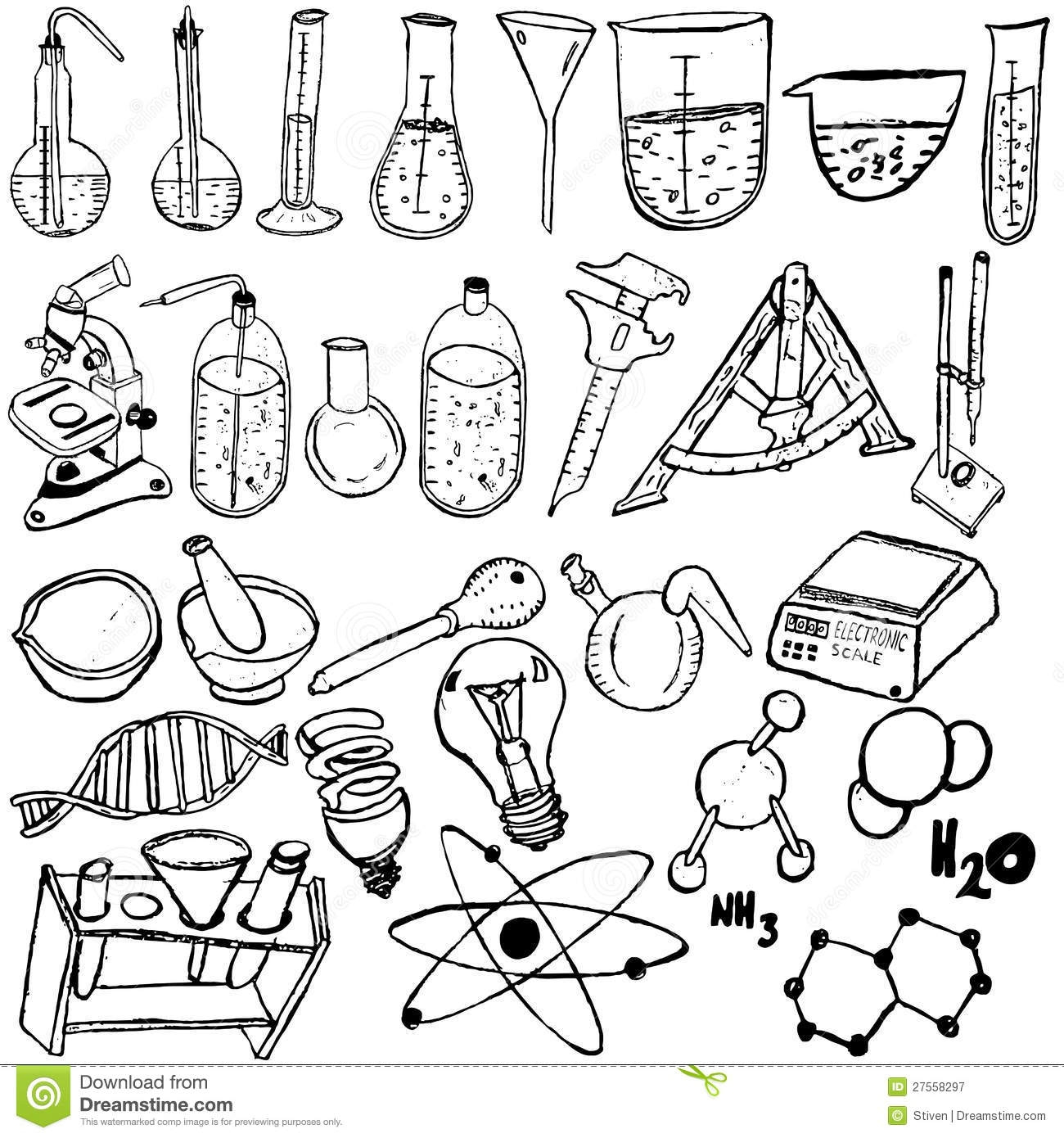 biology coloring pages - royalty free stock photography science icons sketch image