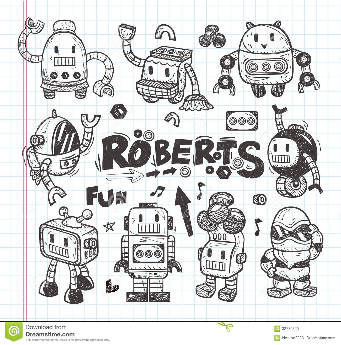 biology coloring pages - stock photo set doodle robot icons illustrator line tools drawing cartoon vector illustration image