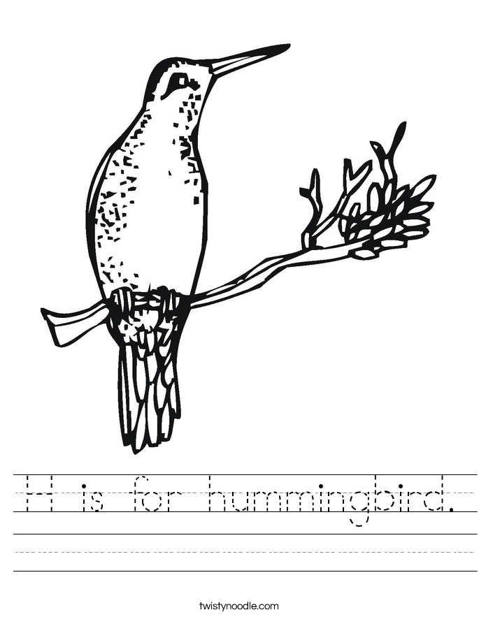 bird coloring pages - h is for hummingbird worksheet