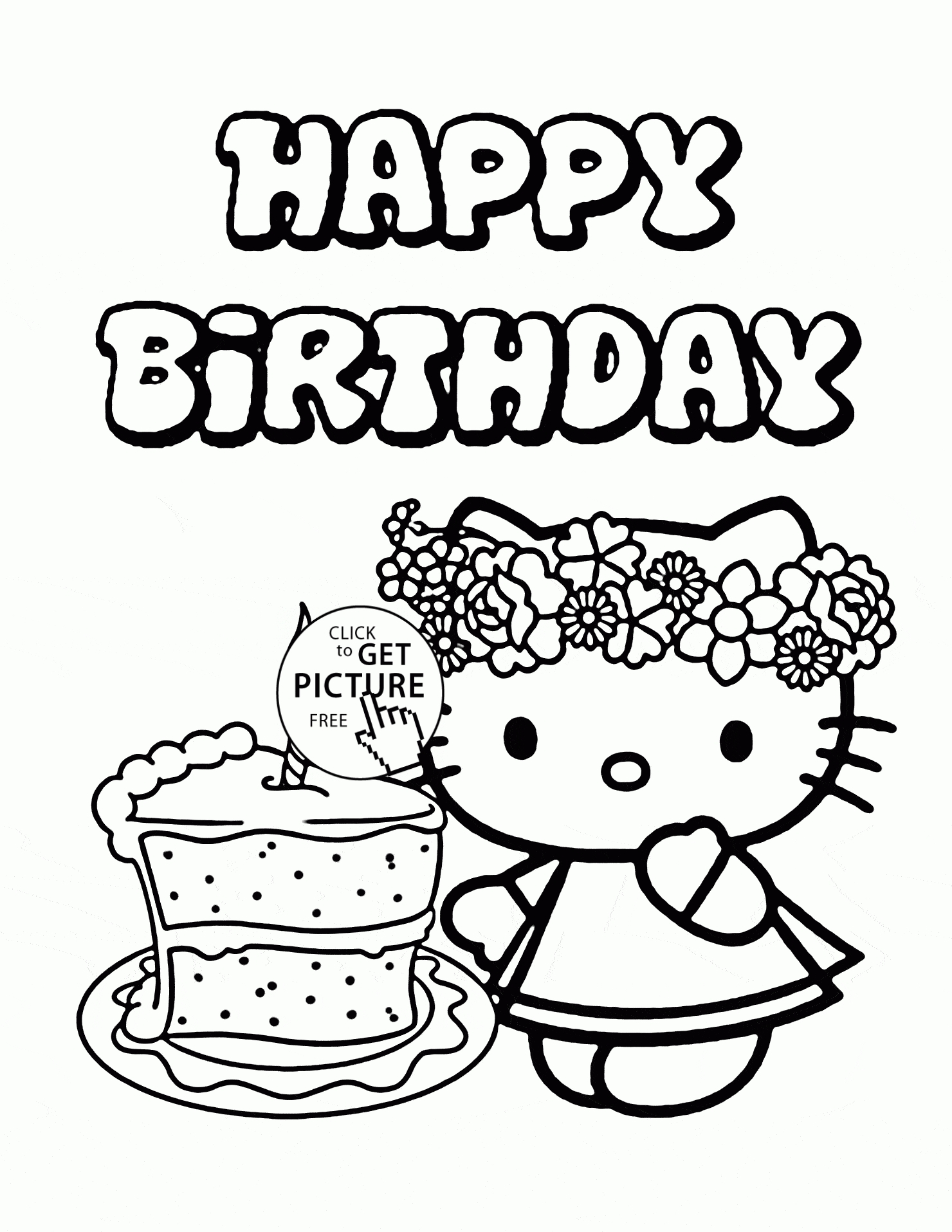 birthday cake coloring page - birthday cake coloring page preschool hello kitty single birthday cake coloring page for kids holiday