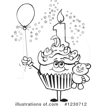 birthday cake coloring page - royalty free birthday cupcake clipart illustration