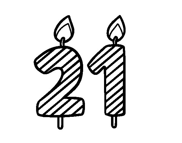 birthday card coloring page - 21 years old