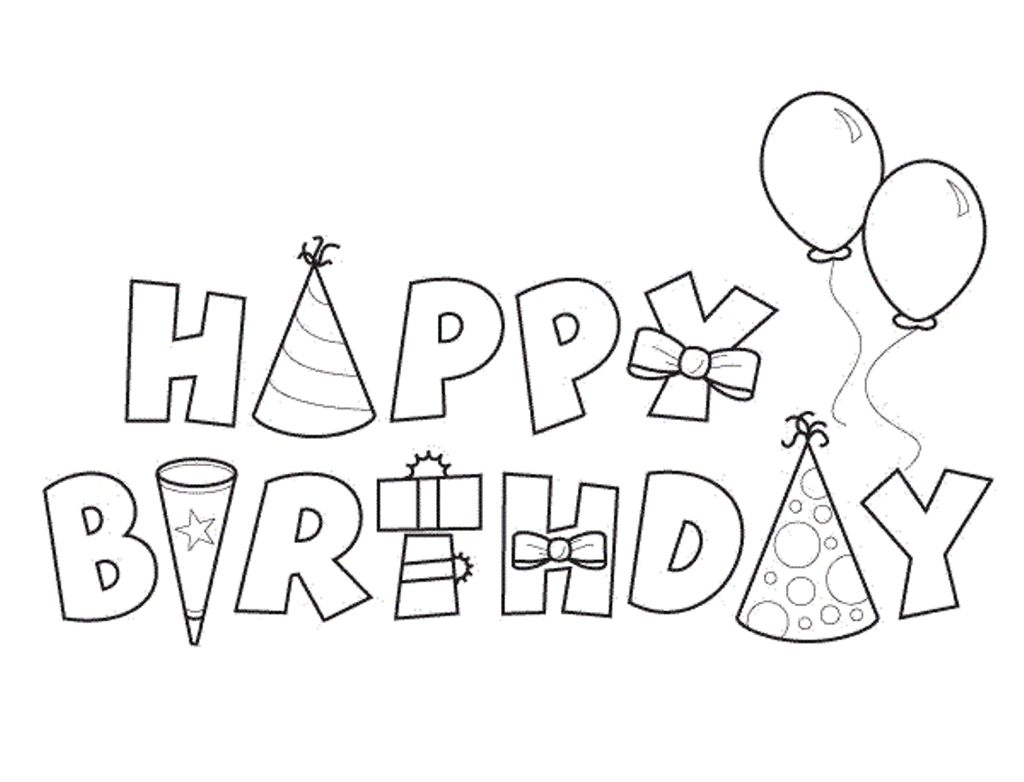 birthday coloring pages - r=letter a for birthday