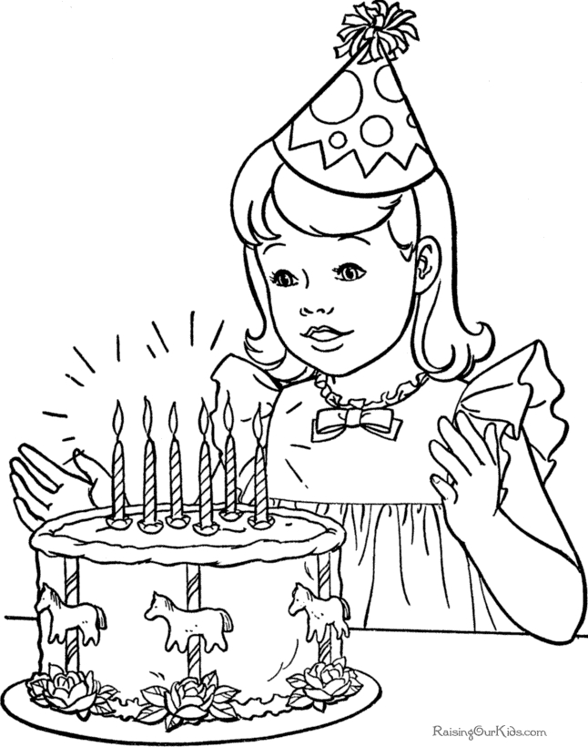 birthday coloring pages - free printable happy birthday coloring pages