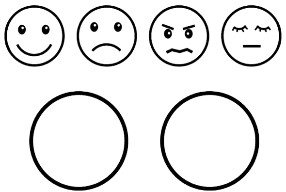 blank pumpkin coloring pages - happy face and sad face