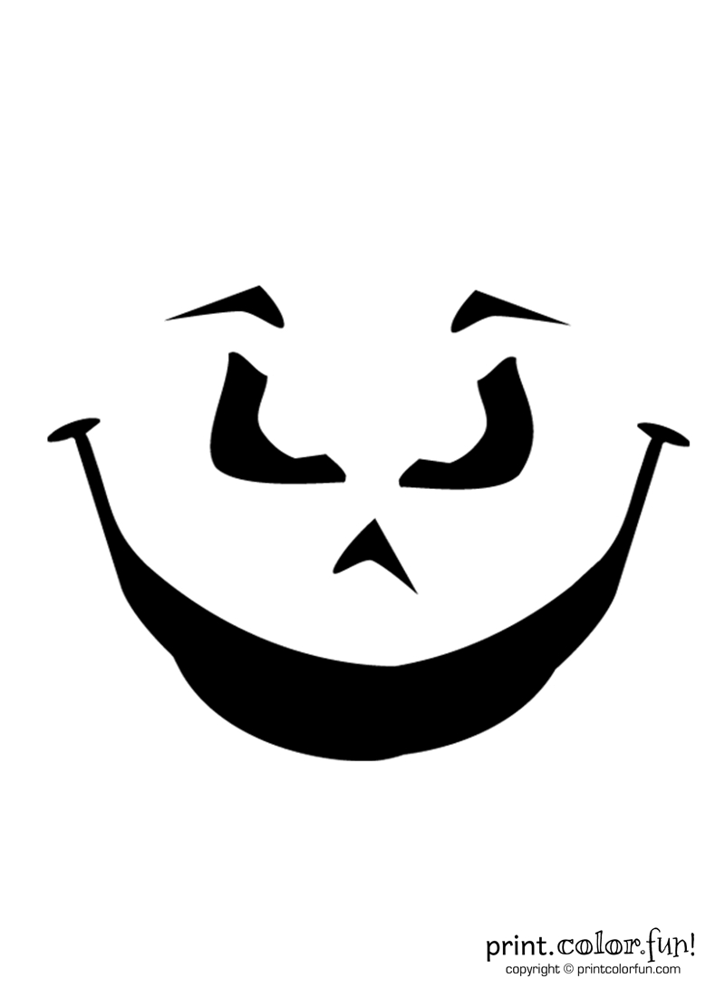 Blank Pumpkin Coloring Pages - Pumpkin Carving Stencil Evil Grin Coloring Page Print