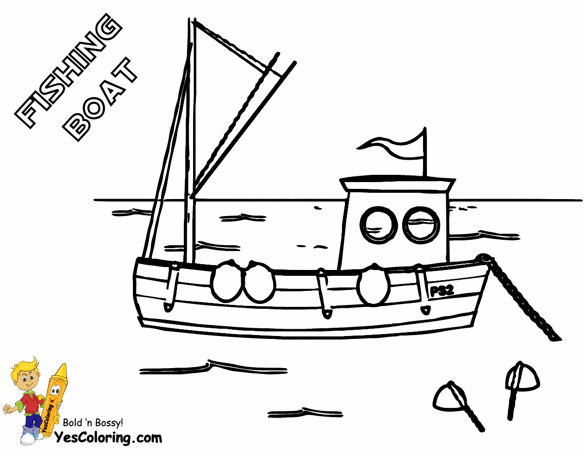 boat coloring pages - colouring pages fishing boats