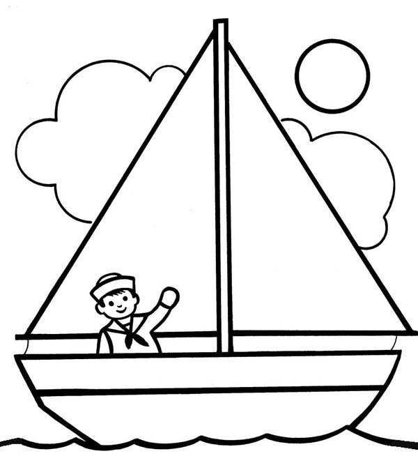 boat coloring pages - kids drawing sailing boat coloring pages 2