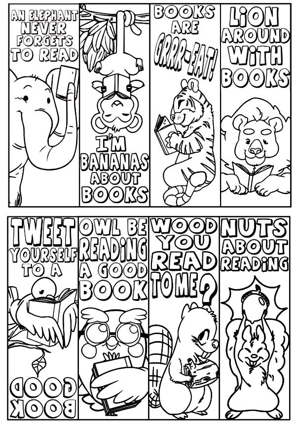 bookmark coloring pages - animal theme bookmarks coloring pages