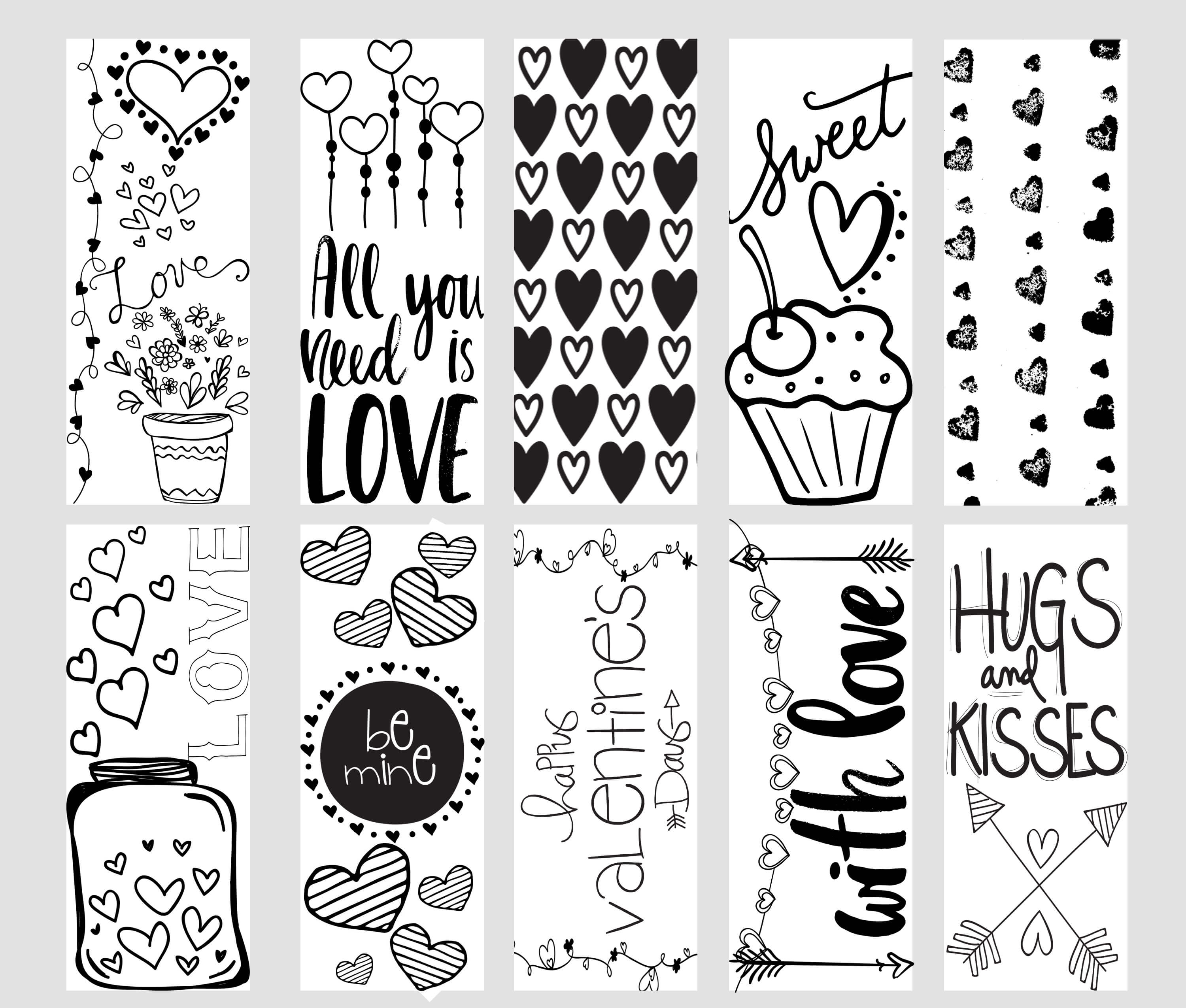 bookmark coloring pages - valentine printable coloring page bookmarks