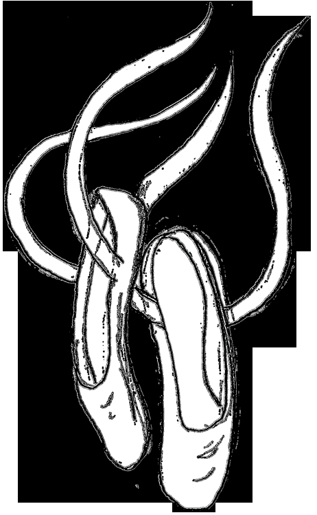 boot coloring page - cartoon ballerina shoes