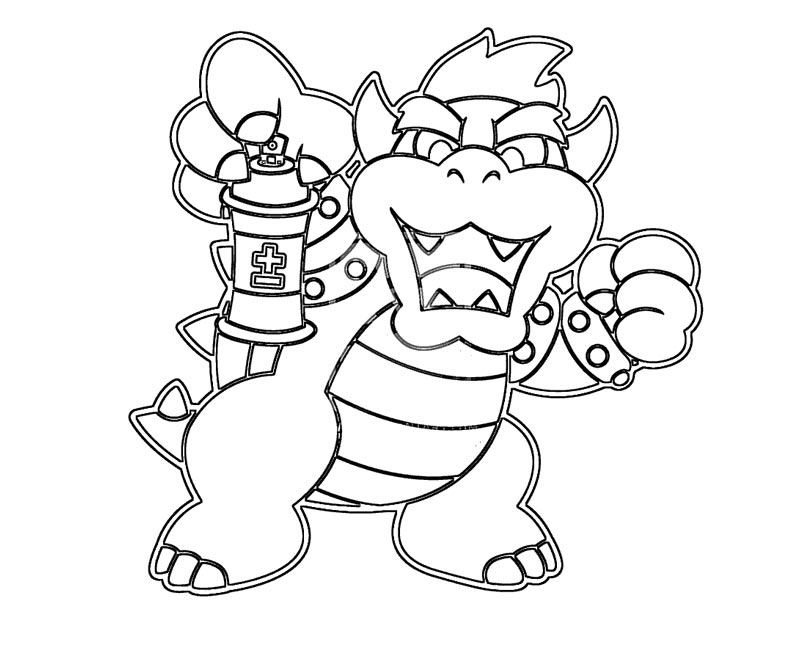 Bowser Coloring Page - Big Bowser Free Coloring Pages