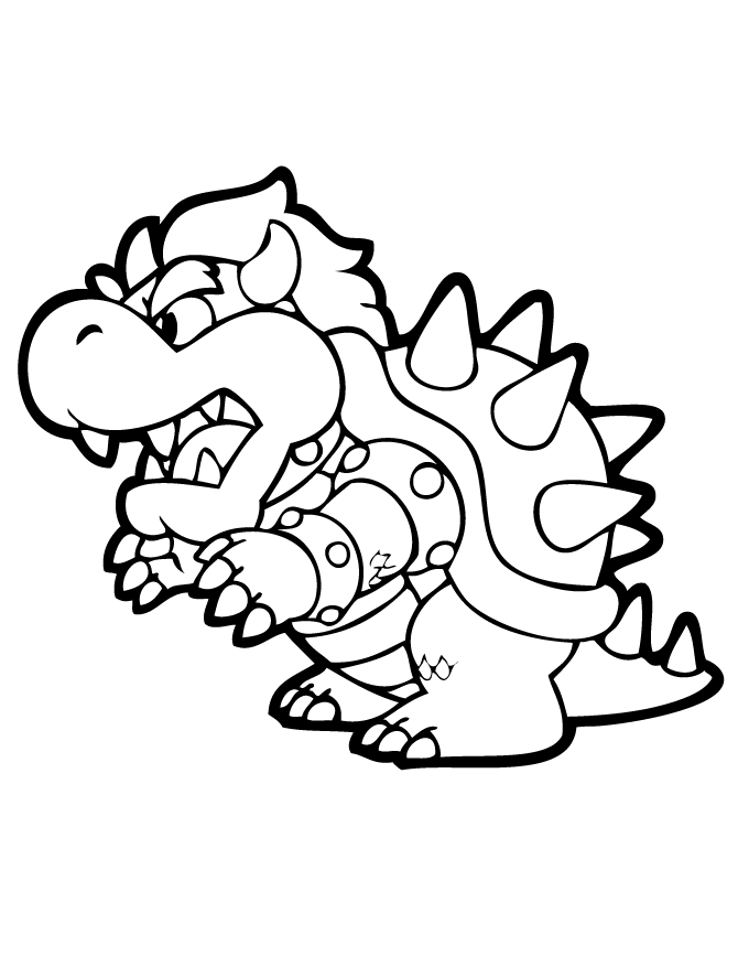 bowser coloring page - bowser