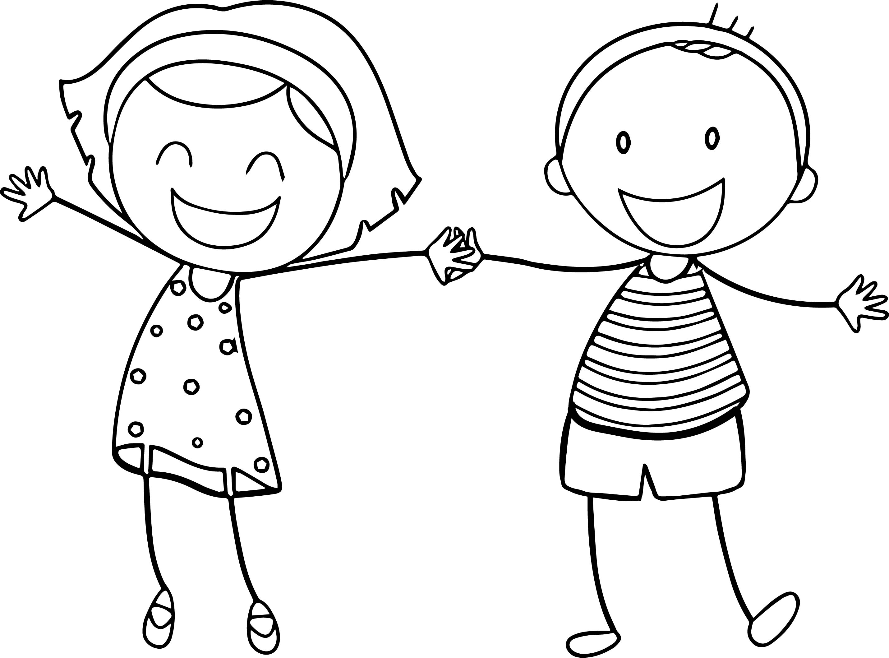 Boy and Girl Coloring Pages - Basic Funny Boy Girl Coloring Sheet Printable Free Pages