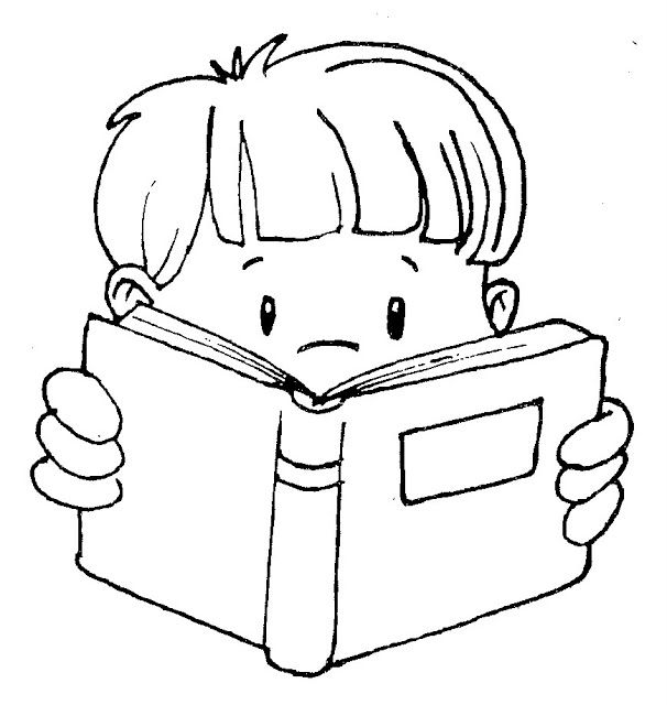boy and girl coloring pages - child reading a book clipart black and white