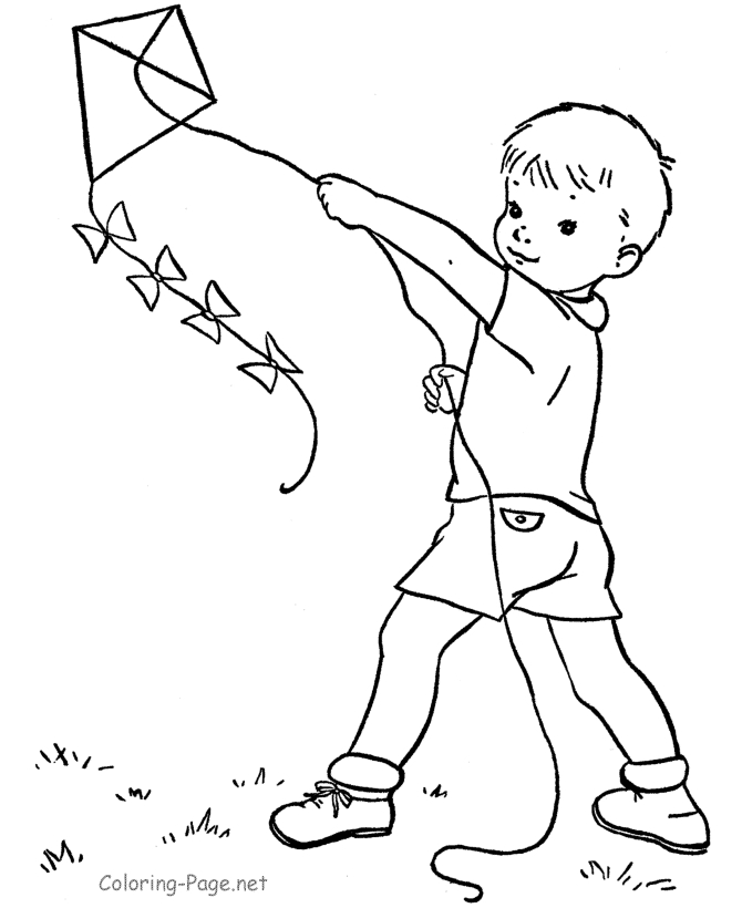 boy and girl coloring pages - flying kite coloring page