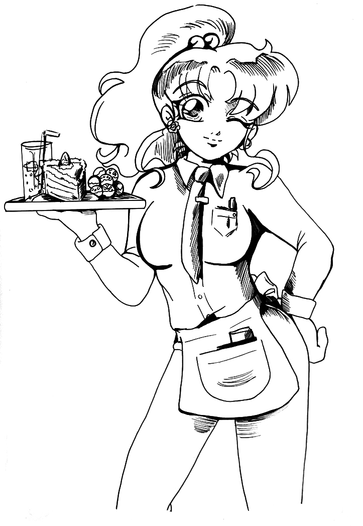 boy and girl coloring pages - Waitress Makoto BW