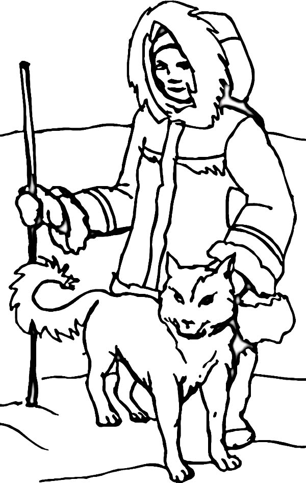 brachiosaurus coloring page - an eskimo with husky in the north coloring page 2