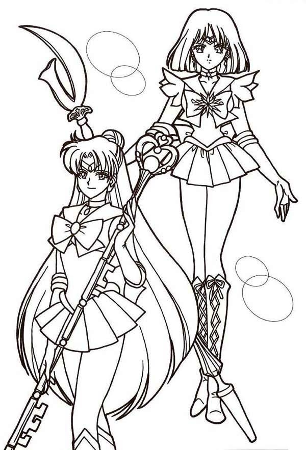 brachiosaurus coloring page - sailor mercury and sailor mars in sailor moon coloring page