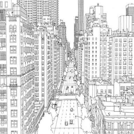 brain coloring page - fantastic cities 48 page urban coloring book for adults