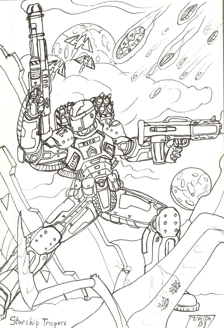 Brain Coloring Page - Starship Troopers by Obsidianorder On Deviantart