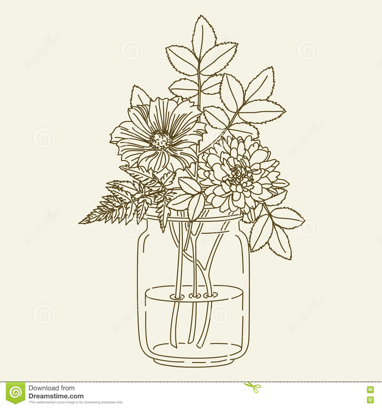 branch coloring page - stock illustration flowers mason jar hand drawn vector hand drawn illustration coloring page image