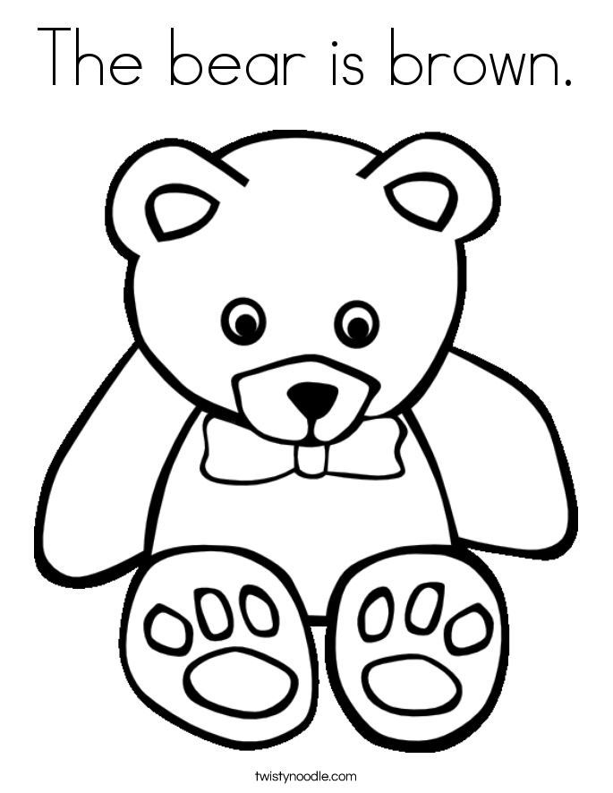 Brown Bear Coloring Pages - the Bear is Brown Coloring Page Twisty Noodle