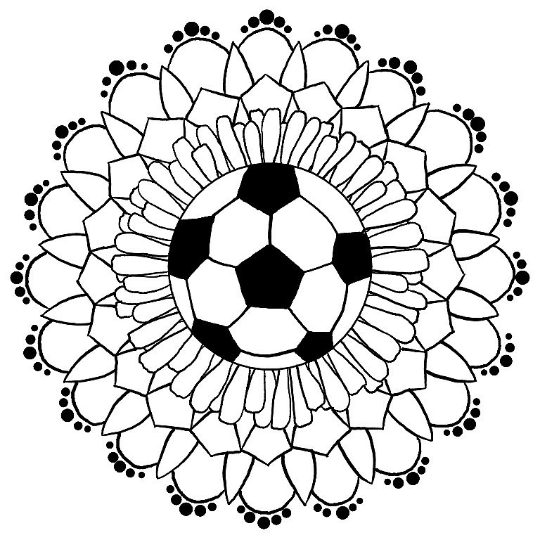 bubble coloring pages - soccer mandala