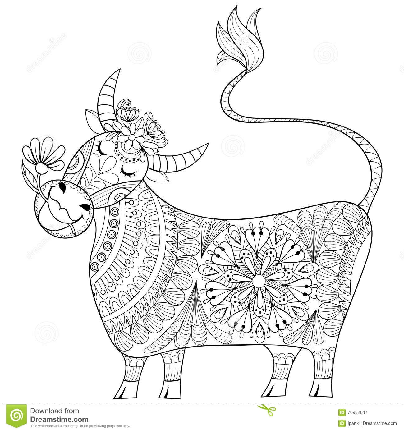 buffalo coloring page - stock illustration coloring page cow zenart stylized hand drawing milker illu illustration tribal totem mascot doodle animal art therapy image