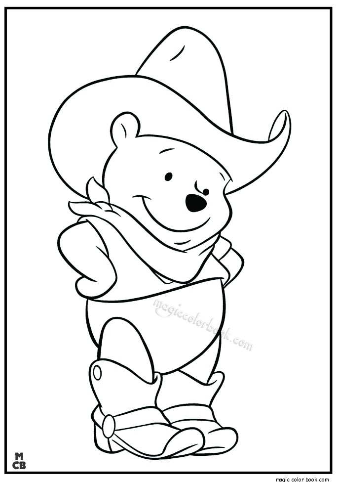 buffalo coloring page - winnie pooh cowboy coloring pages